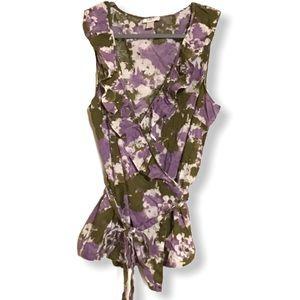 Ann Taylor LOFT ruffle neckline wrap top